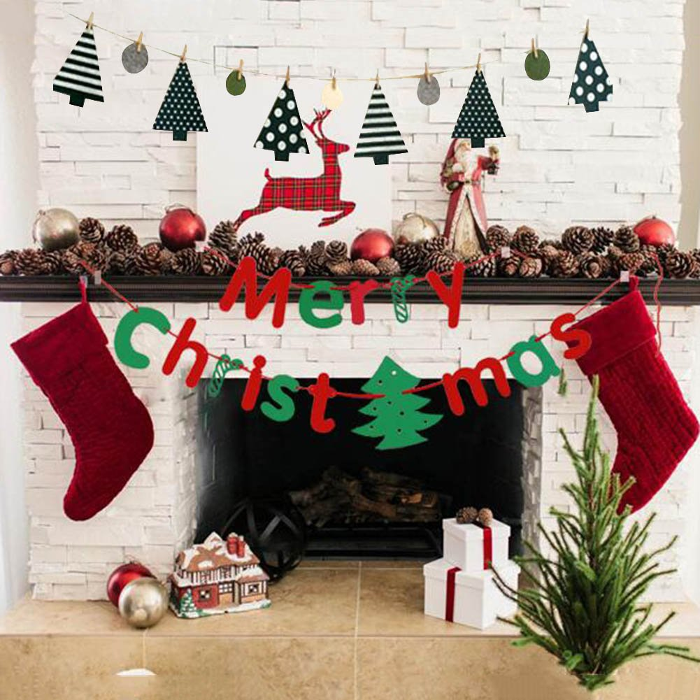 Merry Christmas Banner, Tree Hanging Flag Ornament Gift,Bunting Garland for Xmas Party Holiday Home kid Room Decorate Indoor Wall Fireplace Decor with 3meter Rustic Rope Mantel cabinet