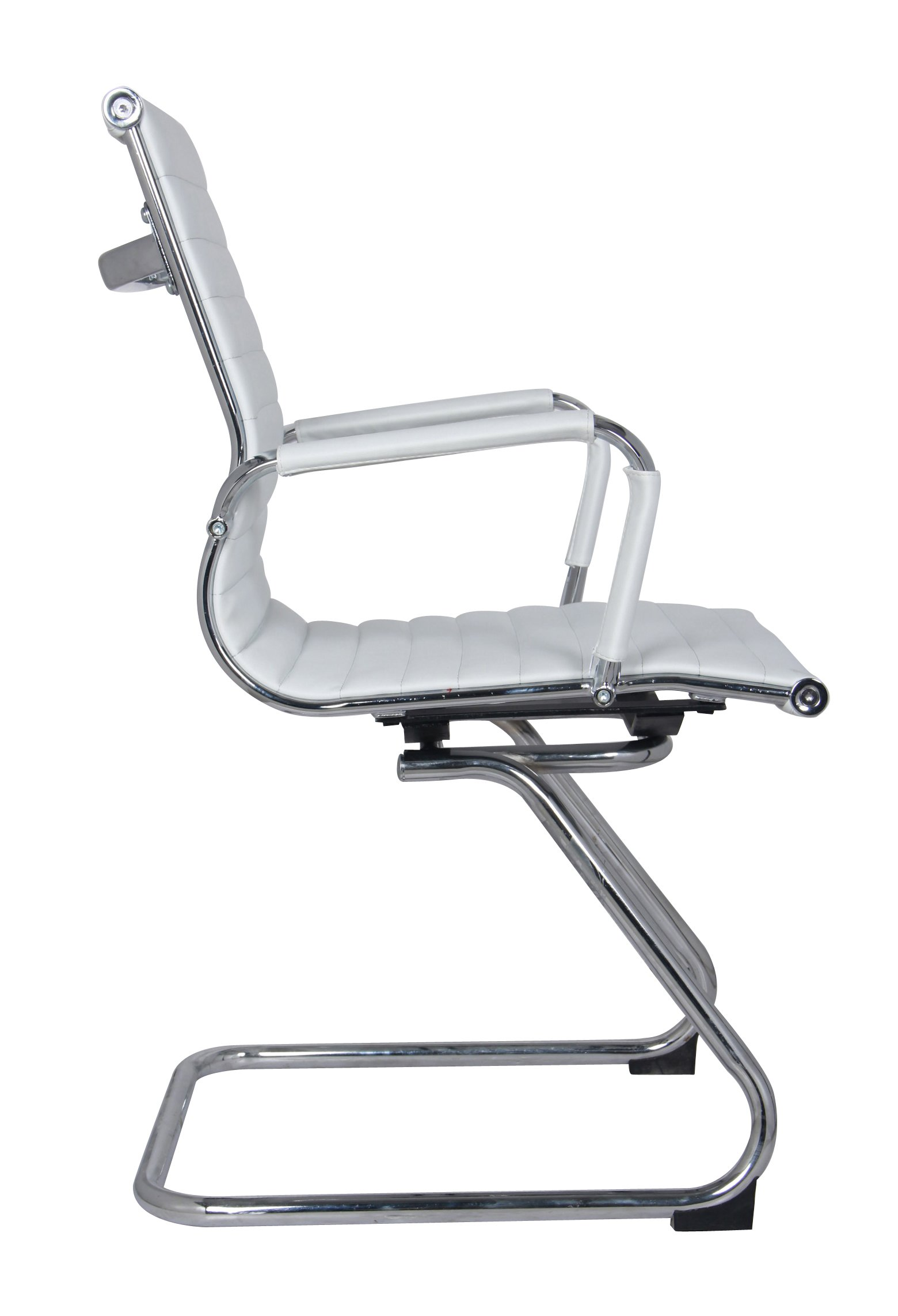 Classic Replica Visitors Chair in White PU Leather. Chrome arms with Protective arm Sleeves with Zip Available. Suitable for Office and Home   Set of 2 Chairs by US Office Elements (Image #3)