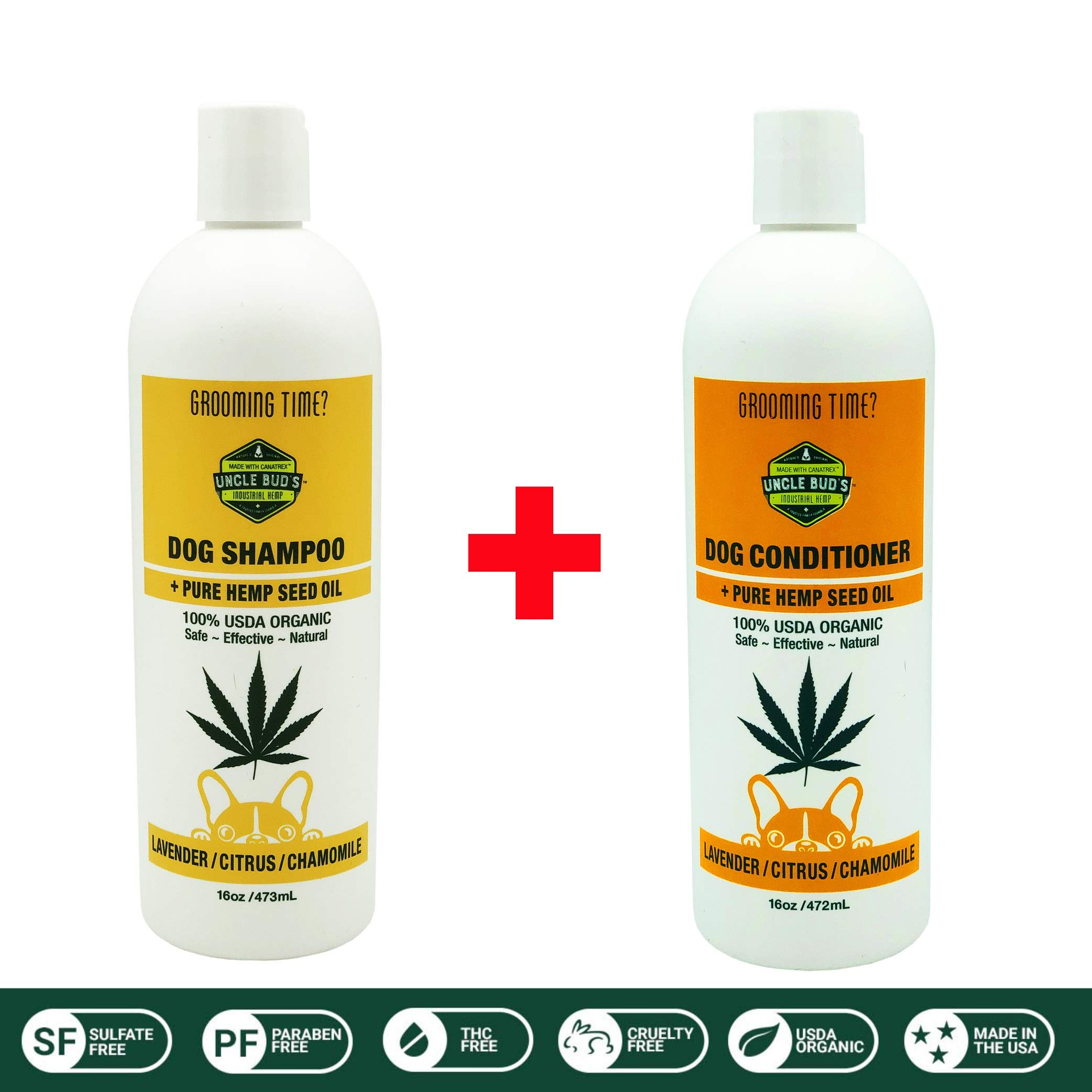 All Natural Hemp Dog Shampoo & Conditioner Value Pack SOOTHES and MOISTURIZES Dry Skin PARABEN Free, SULFATE Free, GMO Free ... by NATURE'S ORIGINAL MADE WITH CANATREX UNCLE BUD'S · TOPICAL PAIN RELIEVER · A TRUSTED FAMILY FORMULA