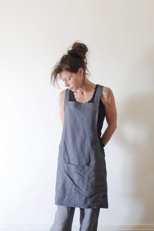 Linen Kitchen Wear Pinafore Handmade Linen Apron
