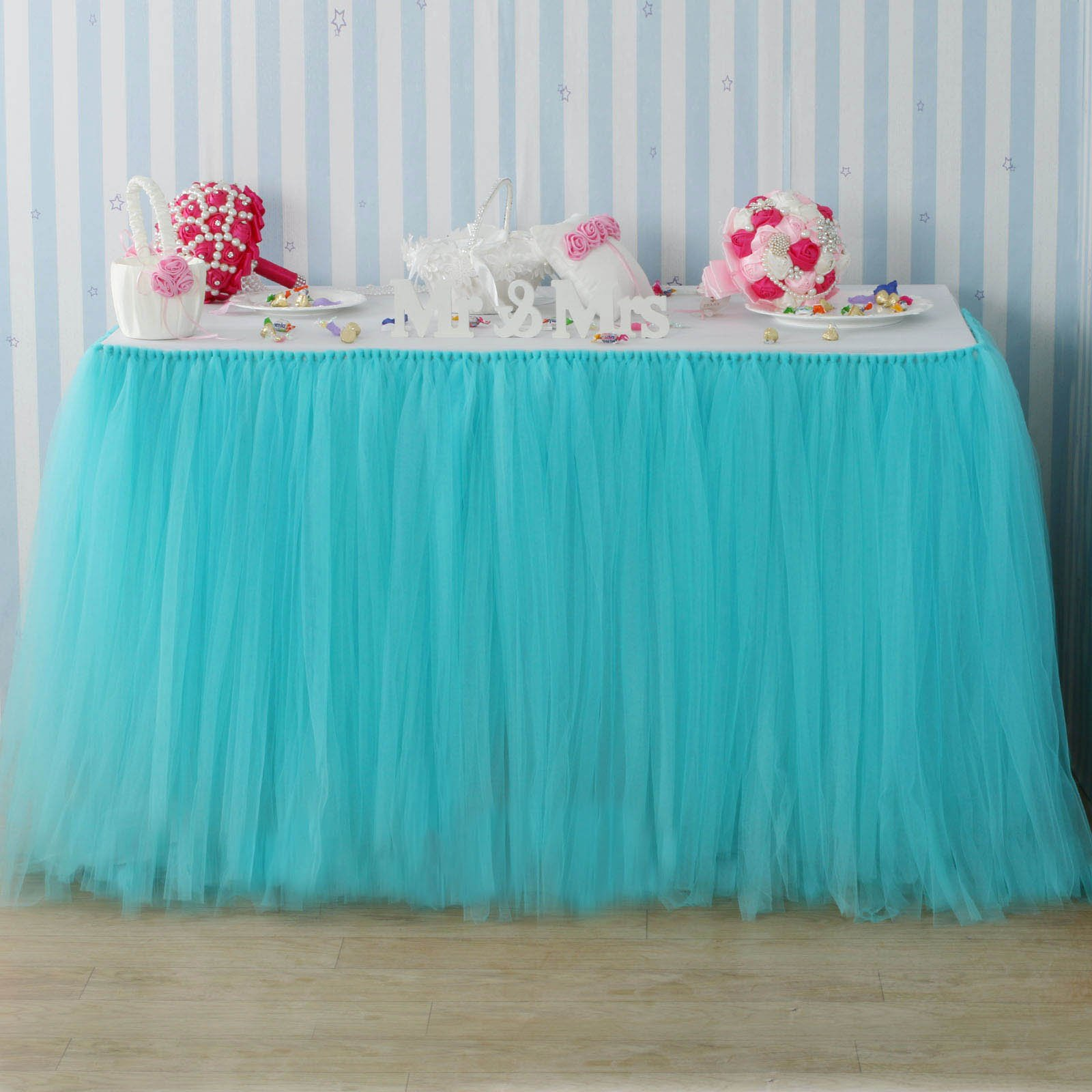Fivejorya 3.3ft Turquoise Blue Tulle Table Skirt Queen Wonderland Tablecloth Skirting Tutu Tablecloth Tableware for Christmas Wedding Baby Shower Birthday Party Cake Dessert Table Decor