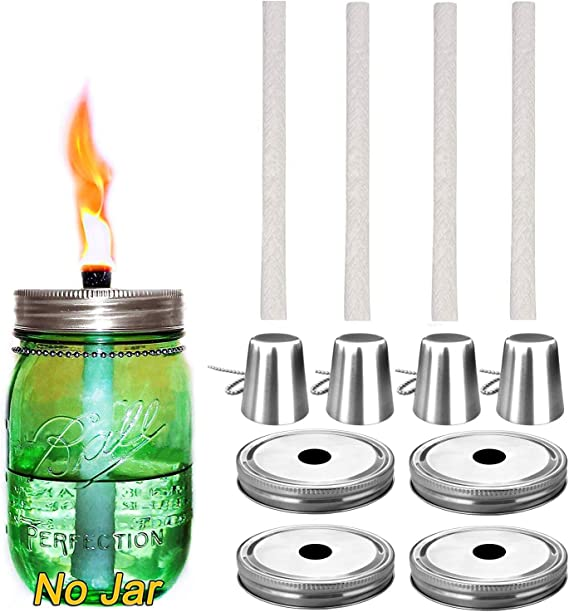 Mason Jar Lifestyle Oil Lamp Torch Lids with Wick in Galvanized Metal 2 Pack, Regular Mouth