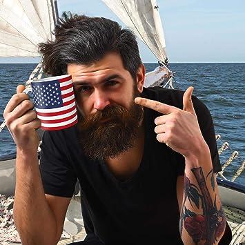 para Mujeres y Hombres TRIOSK Taza con dise/ño de la Bandera de Estados Unidos con Banderas para Regalo de Viaje