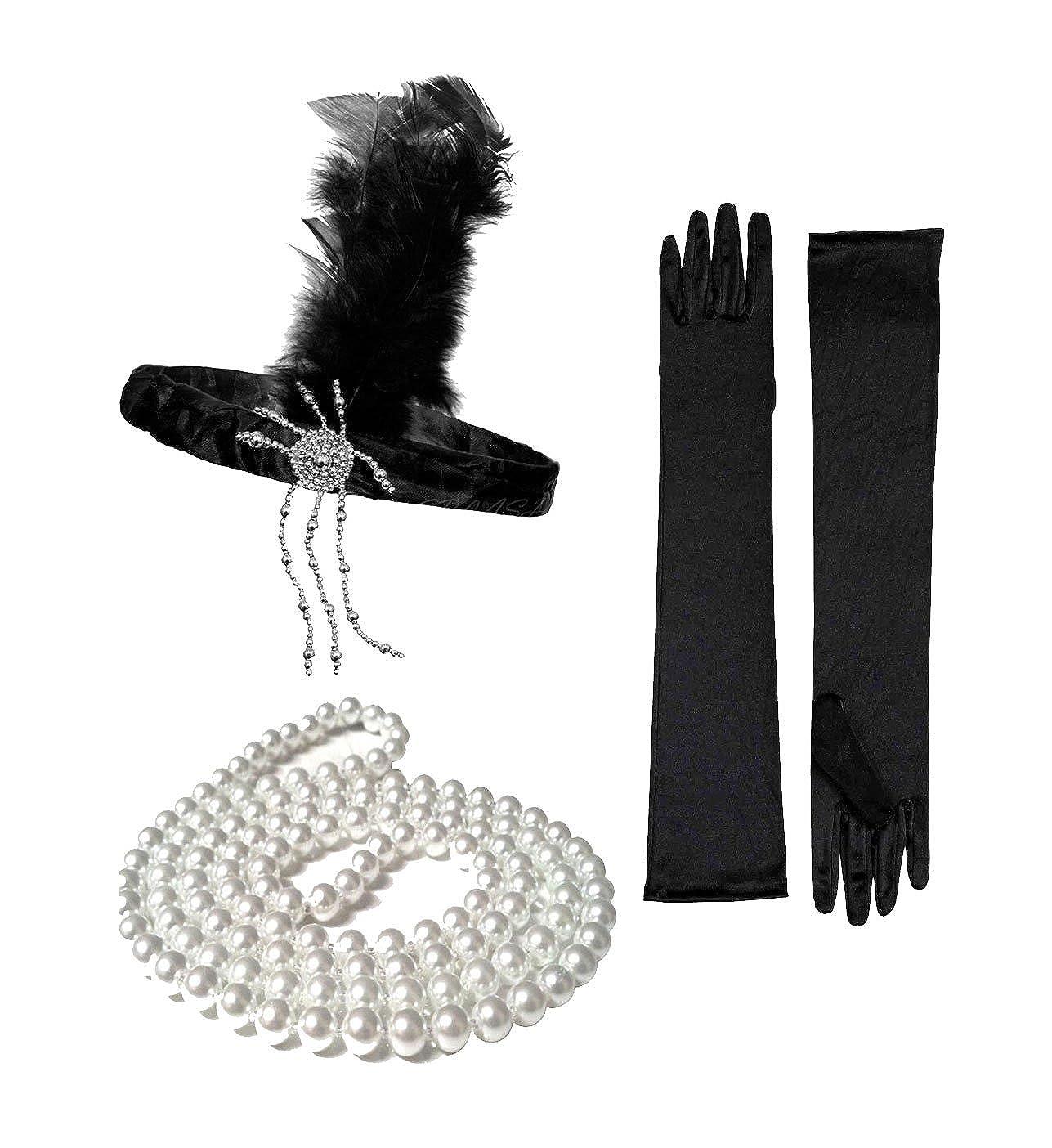20s 1920s Charleston Flapper Fascia Piuma Costume in raso nero da Smiffys