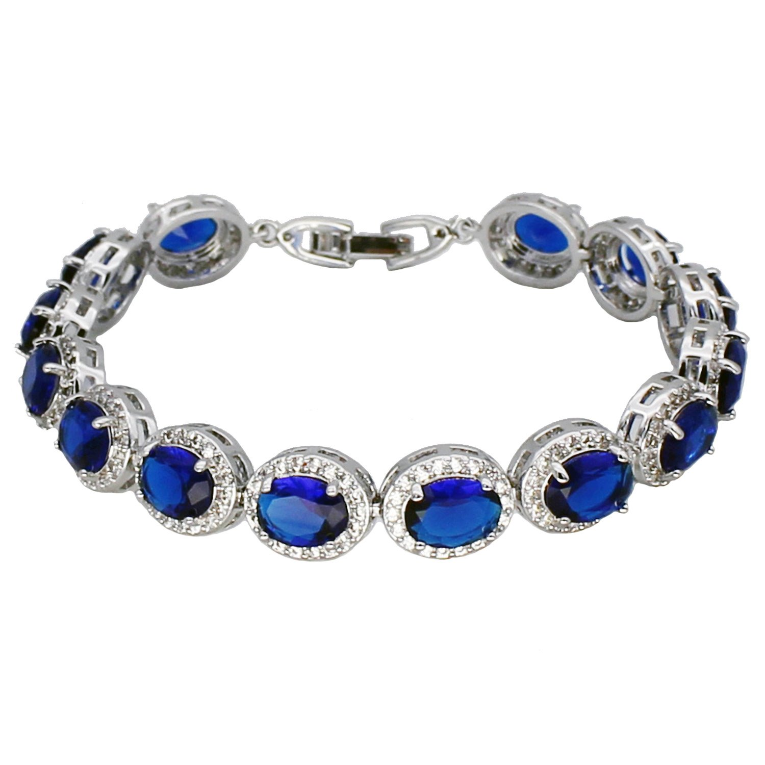Oval Ladies Tennis Bracelet Sapphire Ruby Emerald White Topaz Silver 7 inch (Sapphire)