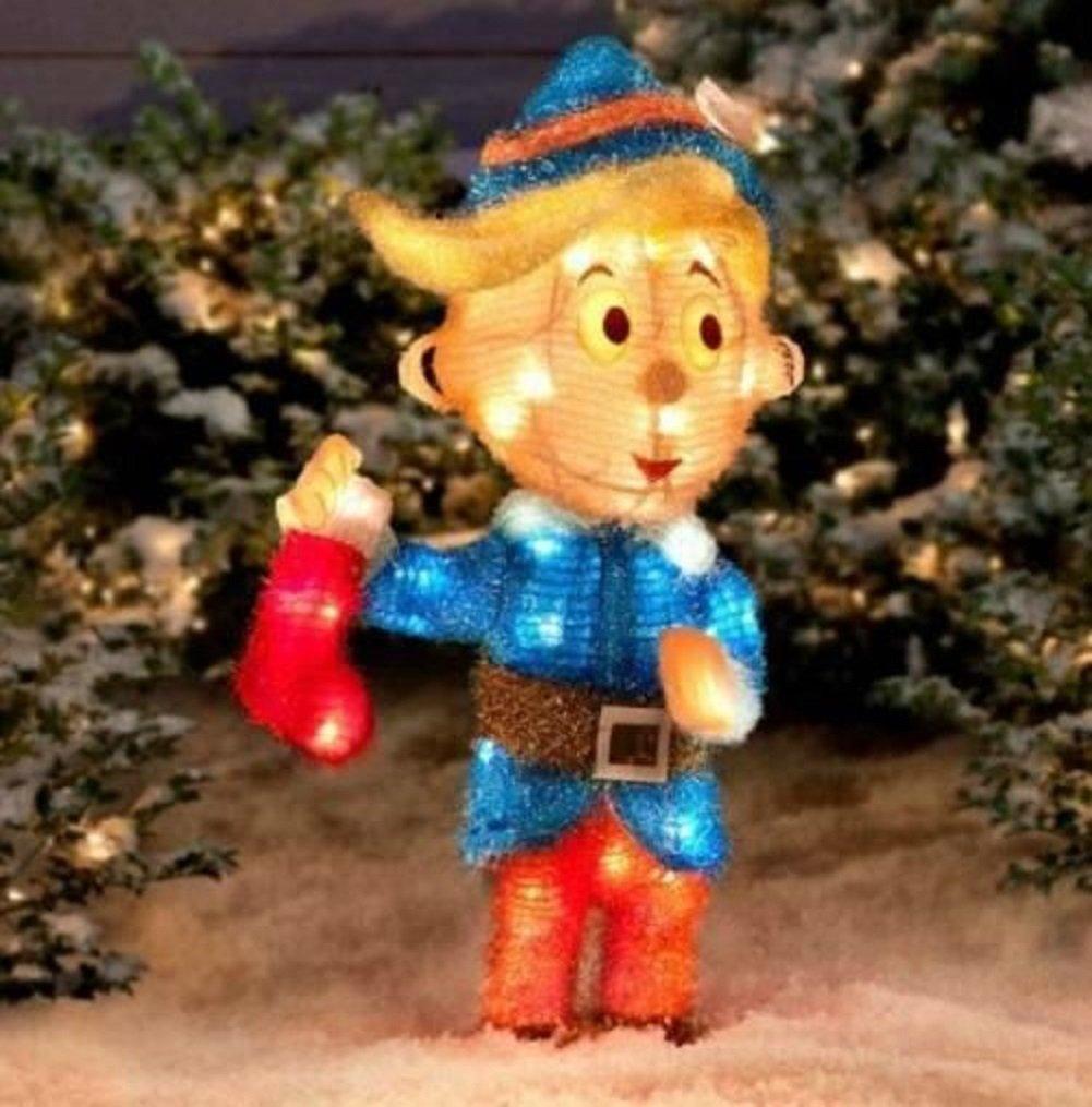 5 pc Pre Lit Rudolph Reindeer Bumble Tree Hermey Cornelius Outdoor Christmas Tinsel Display Yard