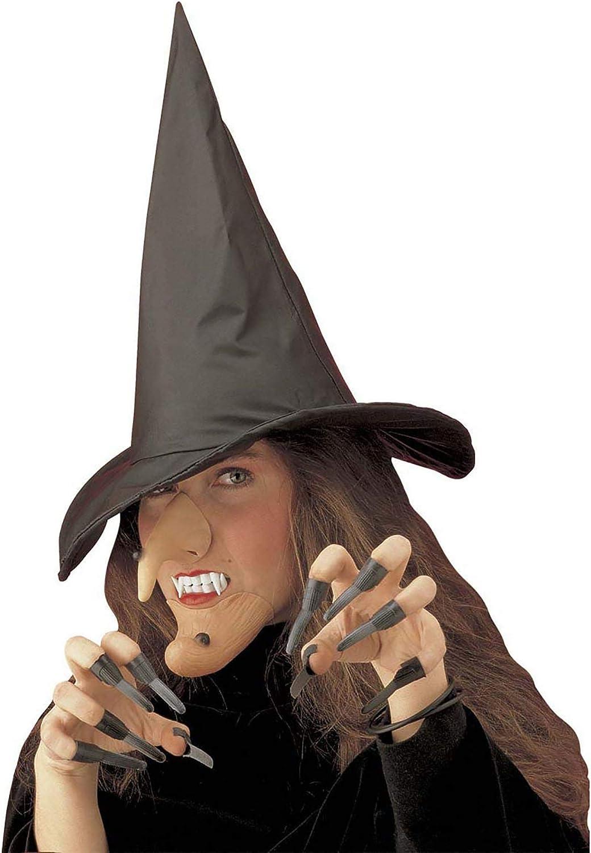 travestimento terrificante per halloween e carnevale Set di 1 naso da strega in lattice con elastico accessorio 10 unghie nere da strega in plastica ideale per feste a tema horror orrore 74438