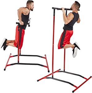 Naladoo Pull Up Bar Free Standing Dip Station, Portable Power Tower Multi-Function Home Gym Strength Training Fitness Workout Equipment, Storage Bag and Exercise Manual