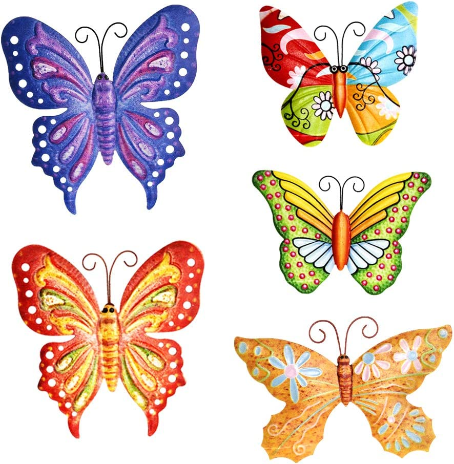 PUENUO 5Pcs Metal Butterfly Wall Art Hanging D¨¦cor for Patio Garden Backyard Outdoor and Indoor Set