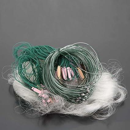 Clear Fishing Cast Drag Net Sticky Nylon Fish Mesh Gill Float Trap Sinker