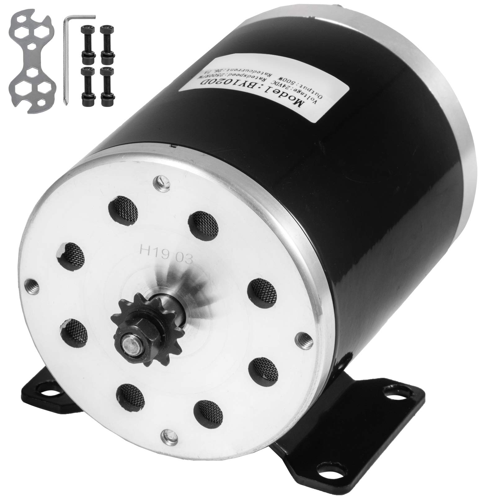 Mophorn Electric Brushed Motor 24V DC 500 Watt with 11Tooth 25Chain Sprocket and Mounting Bracket for Go Karts Scooters & E-Bike by Mophorn