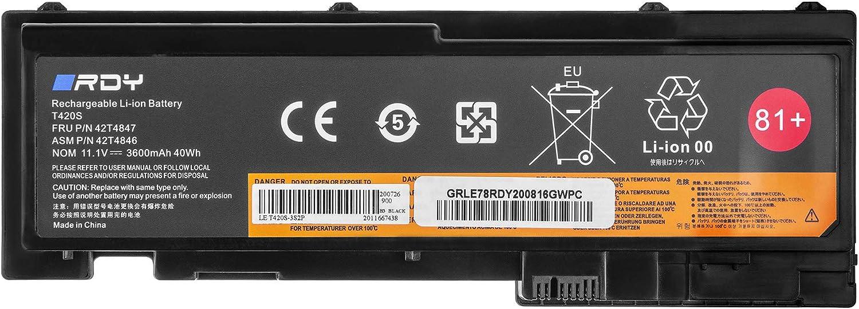 RDY Bater/ía 42T4844 42T4845 0A36287 para Lenovo ThinkPad T420s T420s-4175 T420si