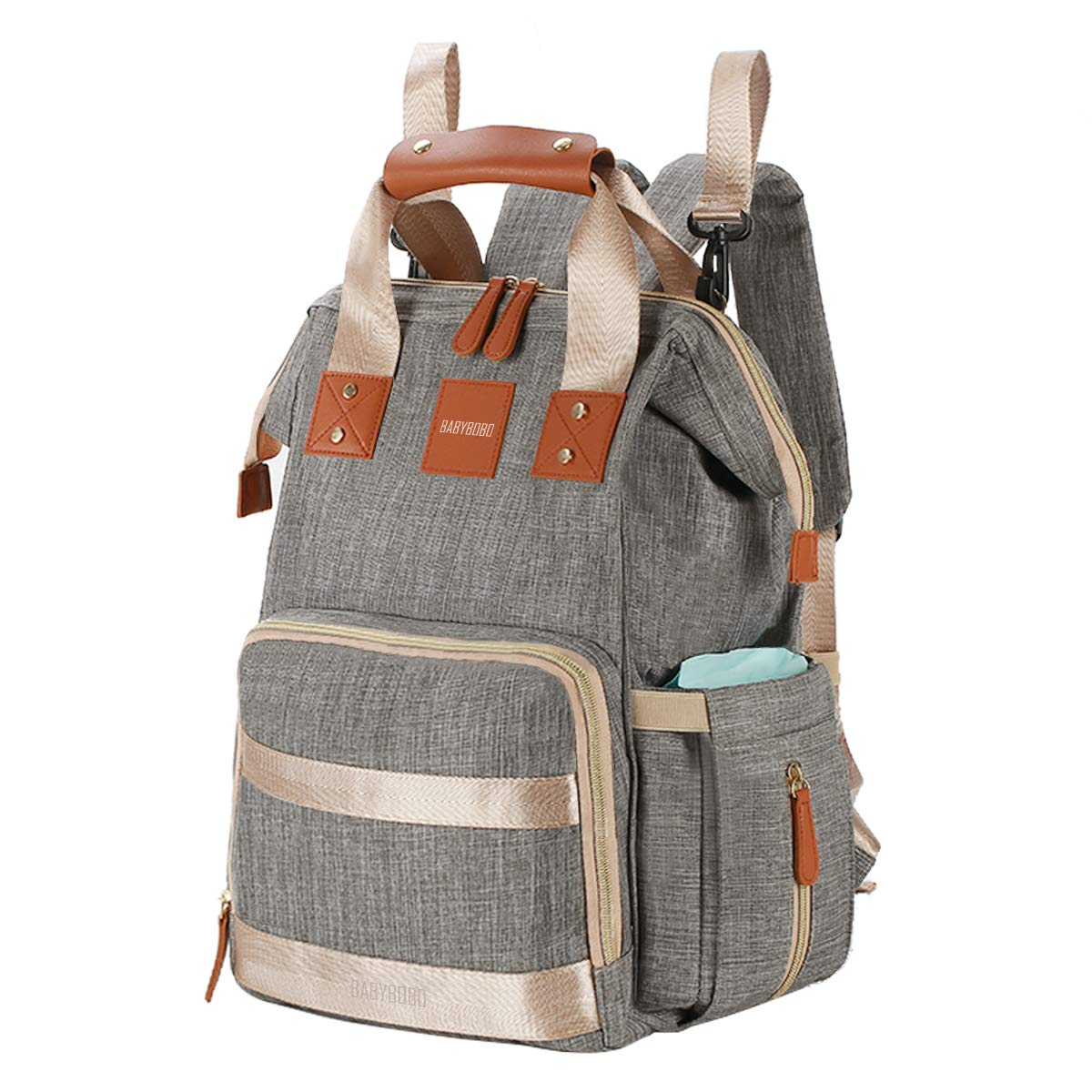 Diaper Bag Backpack Multifunction Travel Backpack Maternity Baby Nappy Changing Bags for Mom/Dad with Baby Care,Large Capacity,Waterproof,Stroller Straps and Stylish,Grey Lanling information-US LLDB01