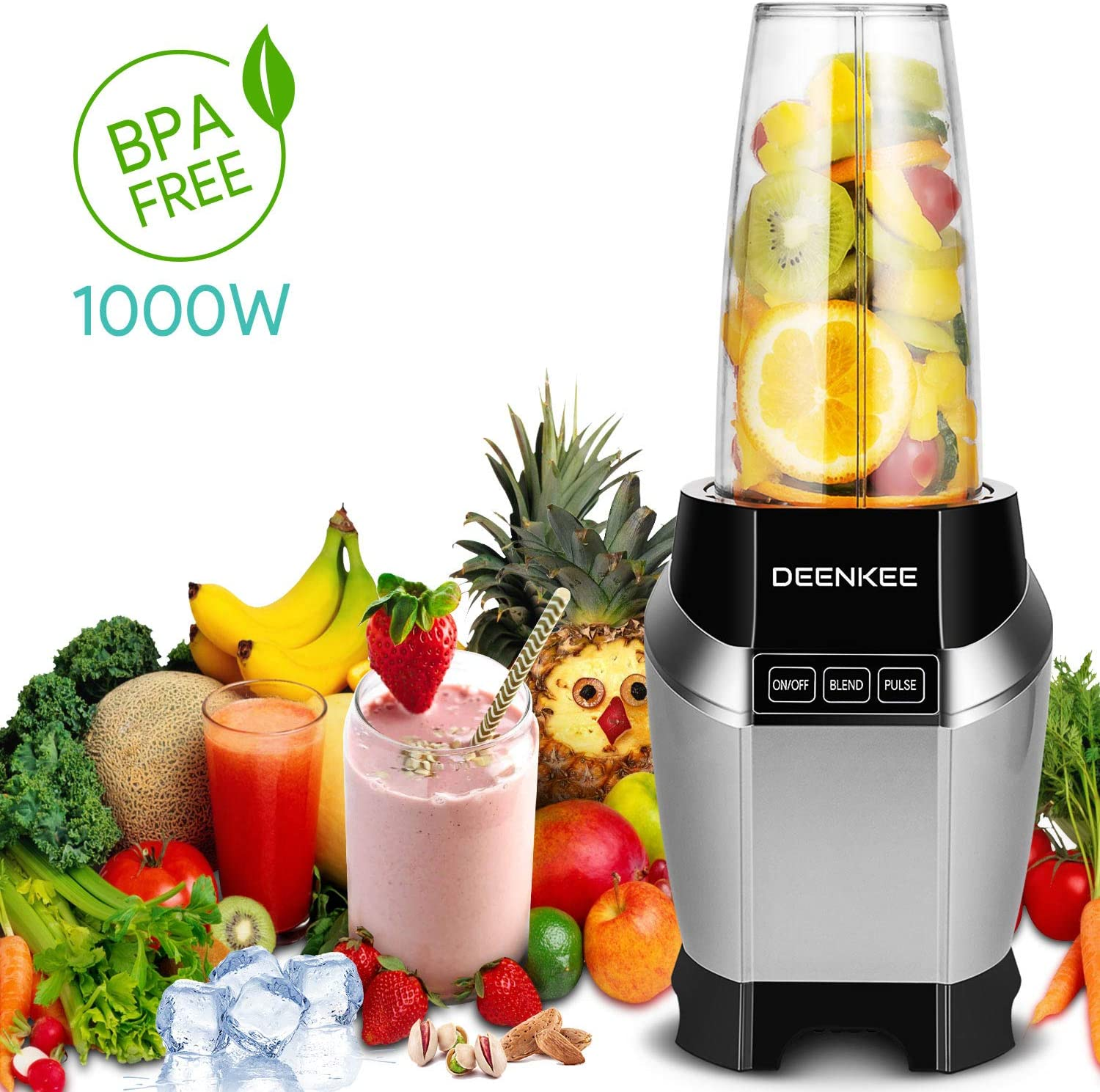 Smoothie Blender, Personal Blender, Blender For Shakes And Smoothies, Stainless Steel Juicer Blender Electric, Professional-Grade Power,High-Speed Blender For Baby Food With 1000W, BPA Free,FDA, Recipes Including sliver
