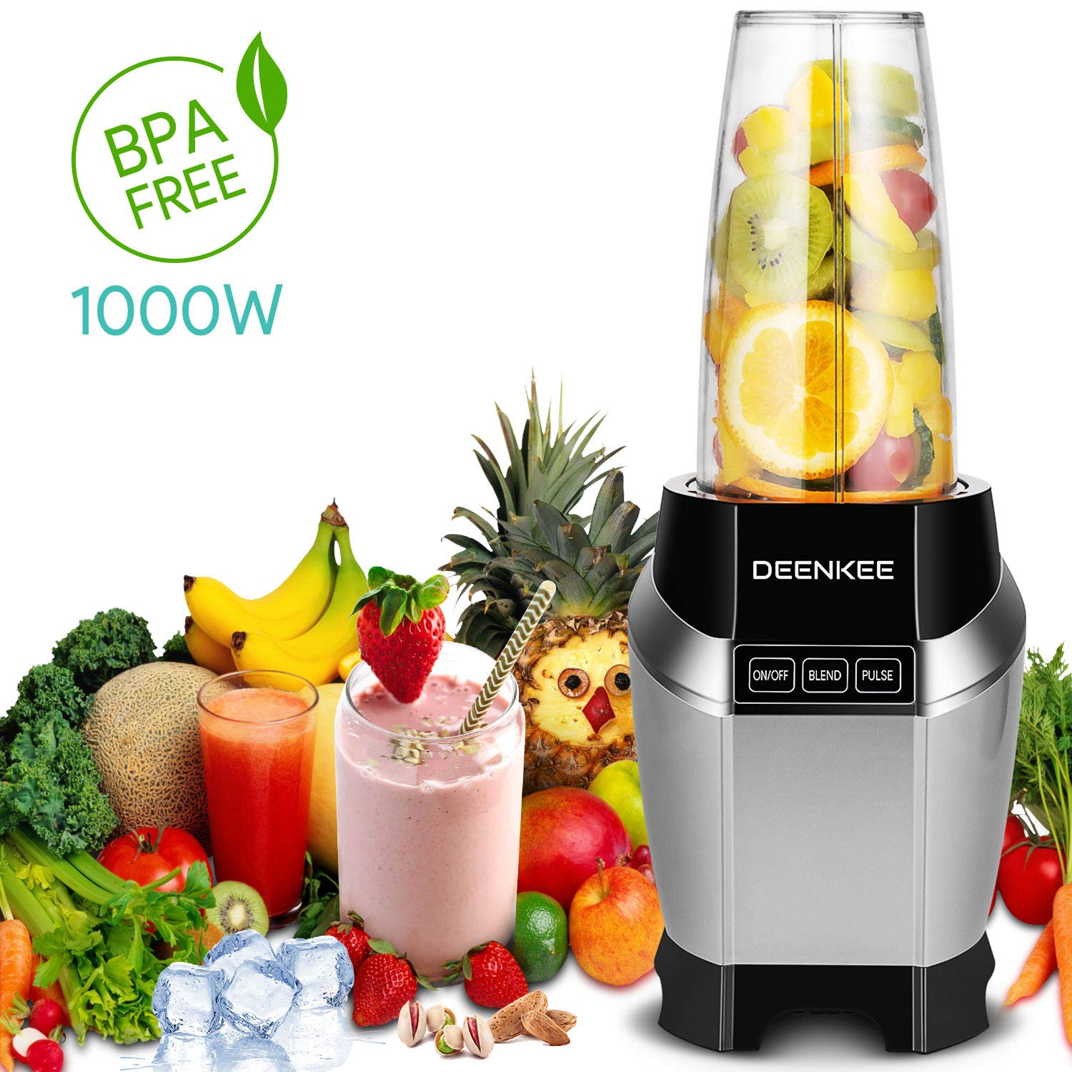 Smoothie Blender, Personal Blender, Blender For Shakes And Smoothies, Stainless Steel Juicer Blender Electric, Professional-Grade Power,High-Speed Blender For Baby Food With 1000W, BPA Free,FDA, Recipes Including (sliver) by Antehome