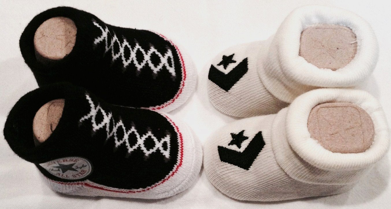 Converse Infant Baby Booties Socks, Black & Off White, 0-6 Month, 2 Pairs. by Converse