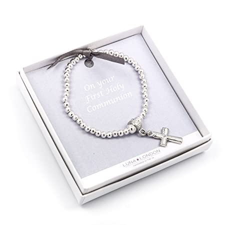 First Holy Communion Pearlescent Bracelet for Children. Sparkly Cross Design in Smart White Box yCrKn