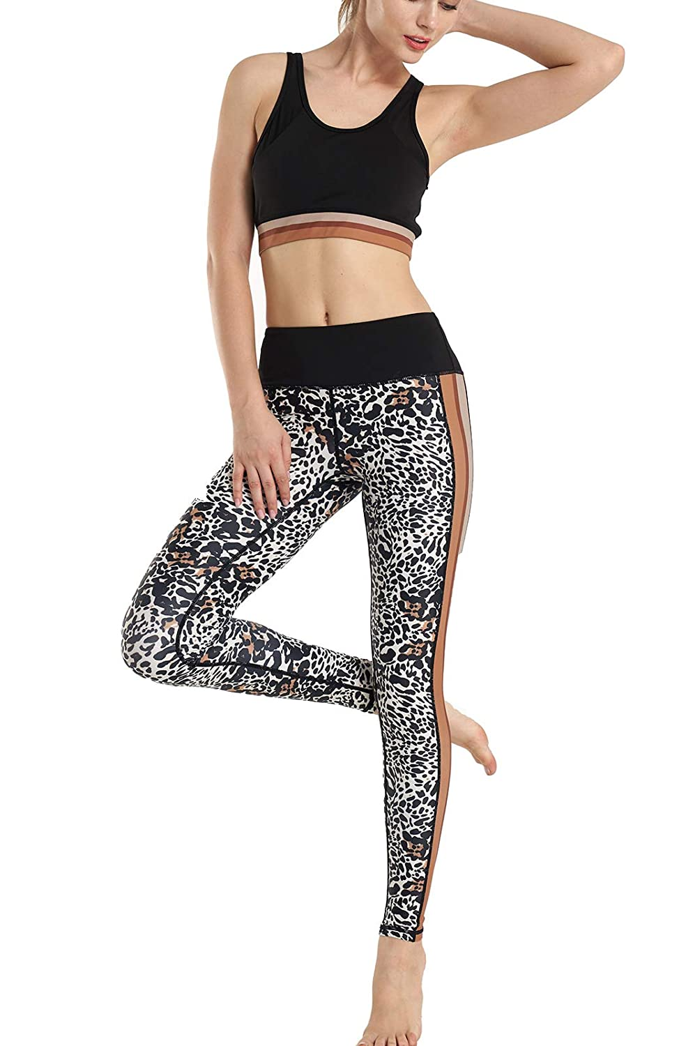 Womens 2 Piece Pattern Print Sports Bra Pants Set Yoga Wear ...