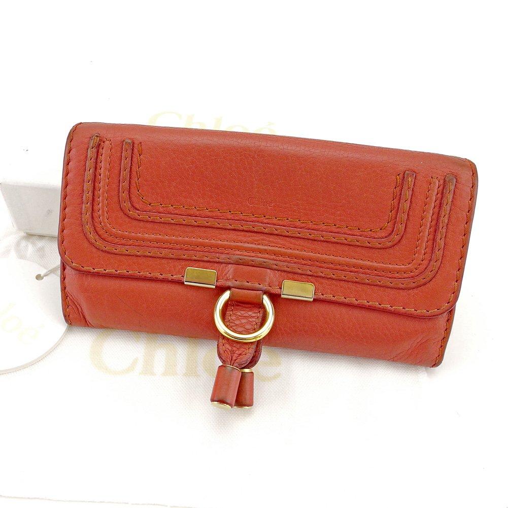 (クロエ) Chloé 長財布 財布 ファスナー付き ダークオレンジ×ゴールド系 マーシー レディース 中古 T4347   B07811HPKH
