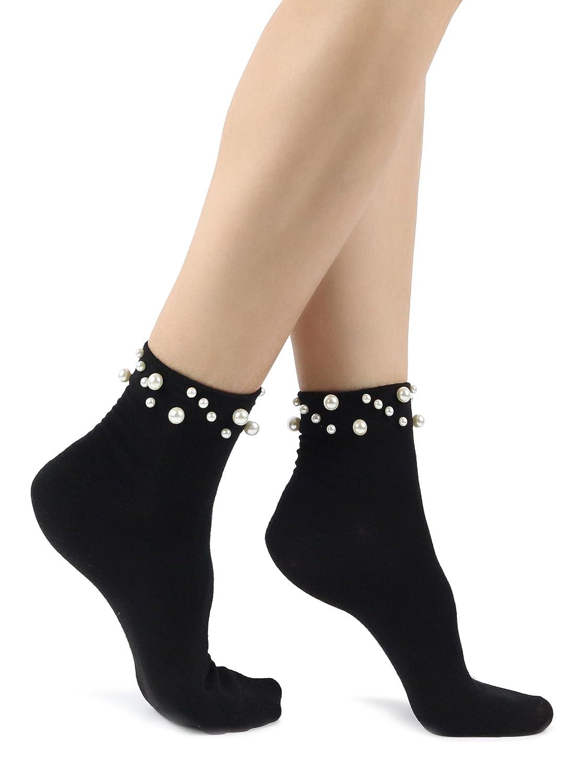 Mixmi Boutique Calzini da donna in cotone nero con perle