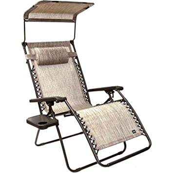bliss hammocks wide gravity free lounger chair with pillow and canopy and side tray platinum amazon     bliss hammocks wide gravity free lounger chair with      rh   amazon