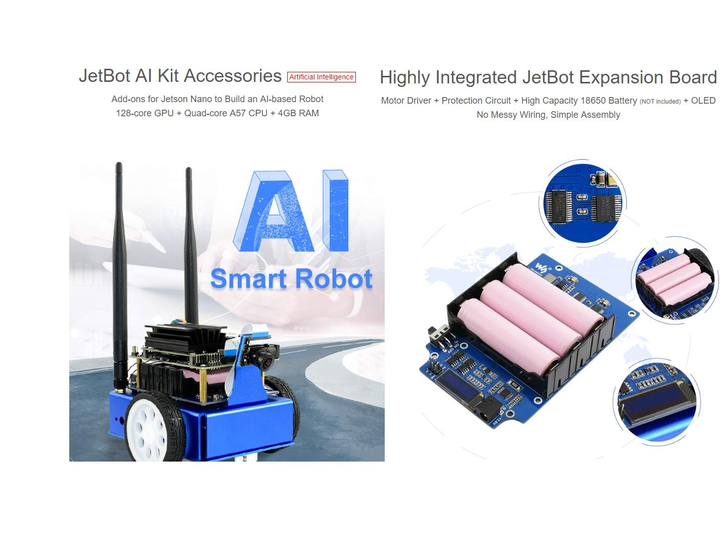 Amazon com: JetBot AI Kit Accessories Add-ons for NVIDIA