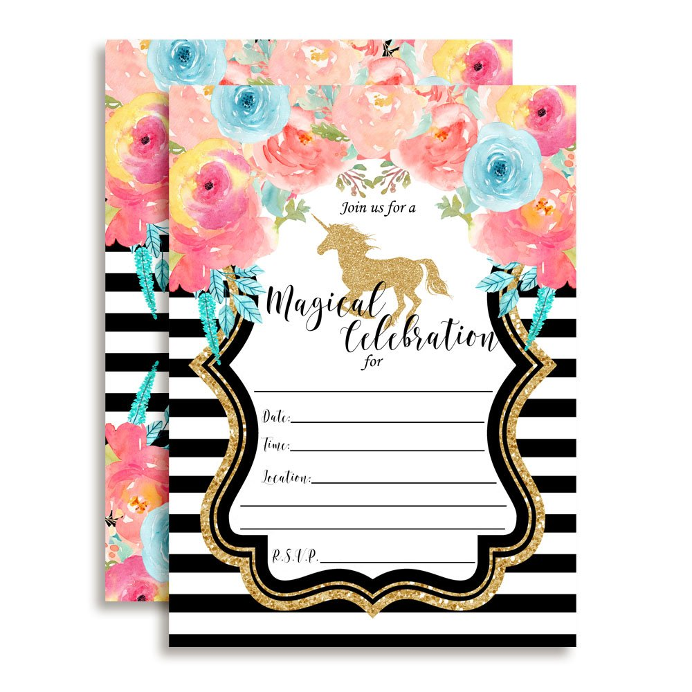 Watercolor Floral Unicorn with Gold Glitter Birthday Party Invitations for Girls, 20 5'x7' Fill in Cards with Twenty White Envelopes by AmandaCreation 20 5x7 Fill in Cards with Twenty White Envelopes by AmandaCreation Amanda Creation