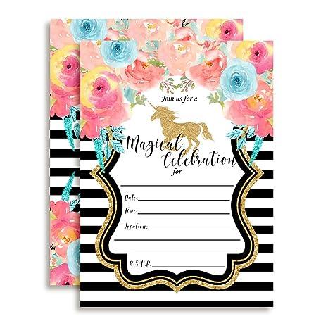 amazon com watercolor floral unicorn with gold glitter birthday