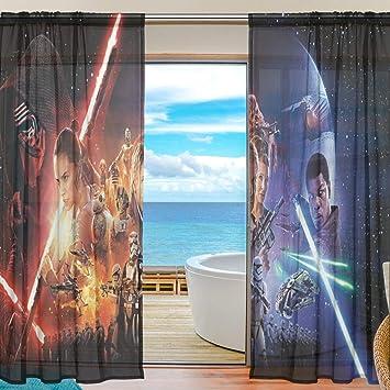 Meroy Fowler Cortina de Tul Star Wars para Ventana, Cortinas Transparentes (2 Paneles Cada uno de 55 x 78 Pulgadas) para Sala de Estar, Dormitorio, Cocina, Ventana: Amazon.es: Hogar