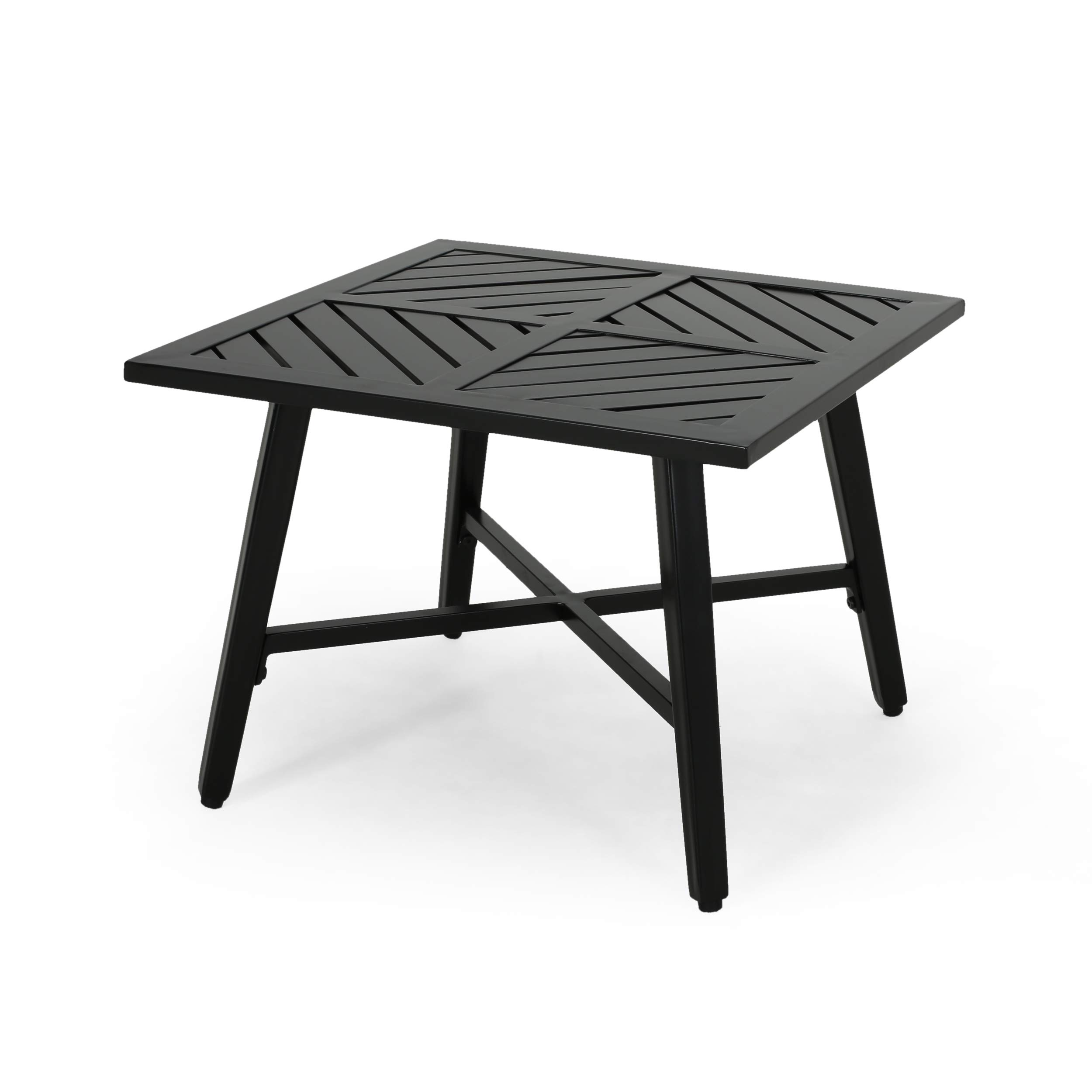 Christopher Knight Home Belle Diego Outdoor Aluminum Side Table, Matte Black