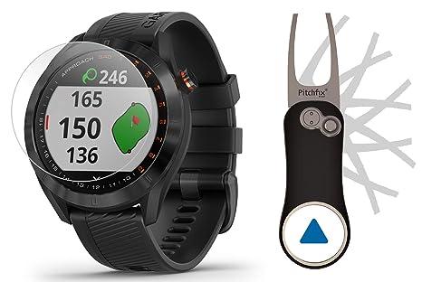 Garmin Approach S40 (Black) Golf GPS Smartwatch Bundle | Includes Garmin/PlayBetter Pitchfix Divot Tool & HD Screen Protectors | Stylish, Color ...