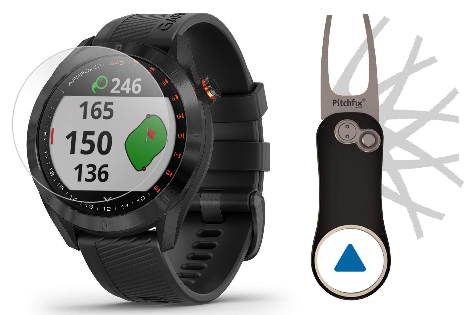 Garmin Approach S40 (Black) Golf GPS Smartwatch Bundle   Includes Garmin/PlayBetter Pitchfix Divot Tool & HD Screen Protectors   Stylish, Color Touchscreen, 41,000+ Courses   010-02140-01