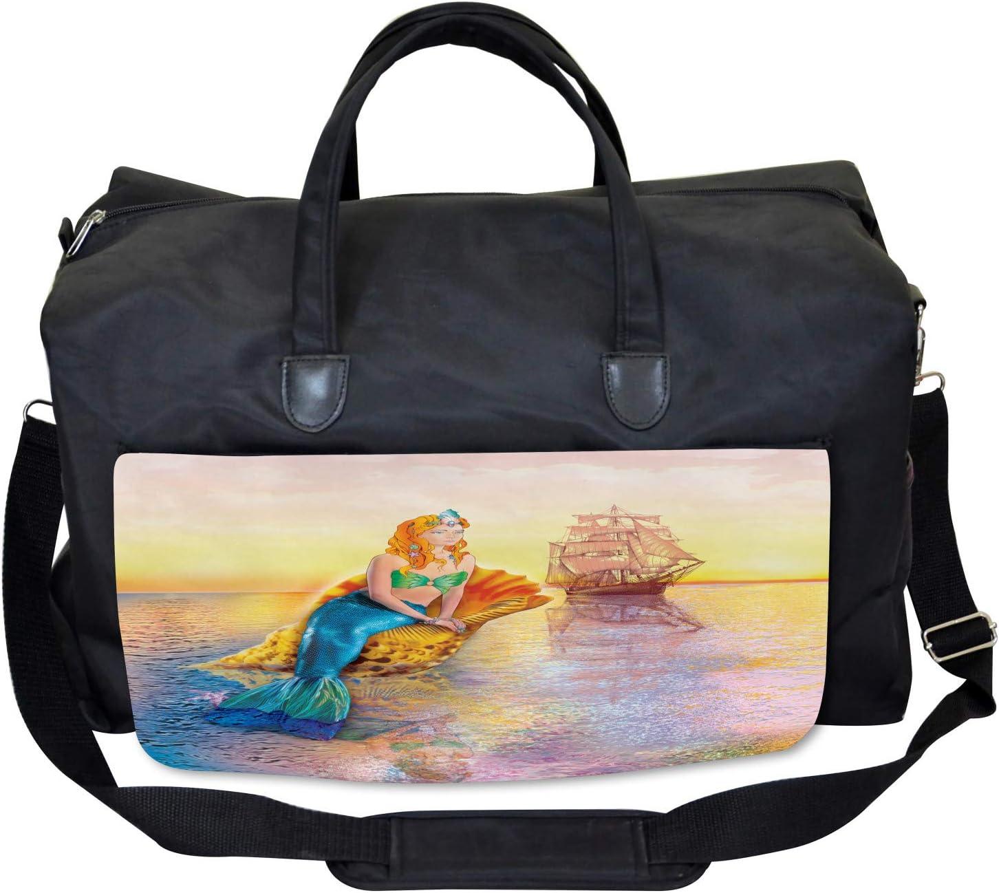 Ambesonne Mermaid Gym Bag Mythical Figure Ocean Large Weekender Carry-on
