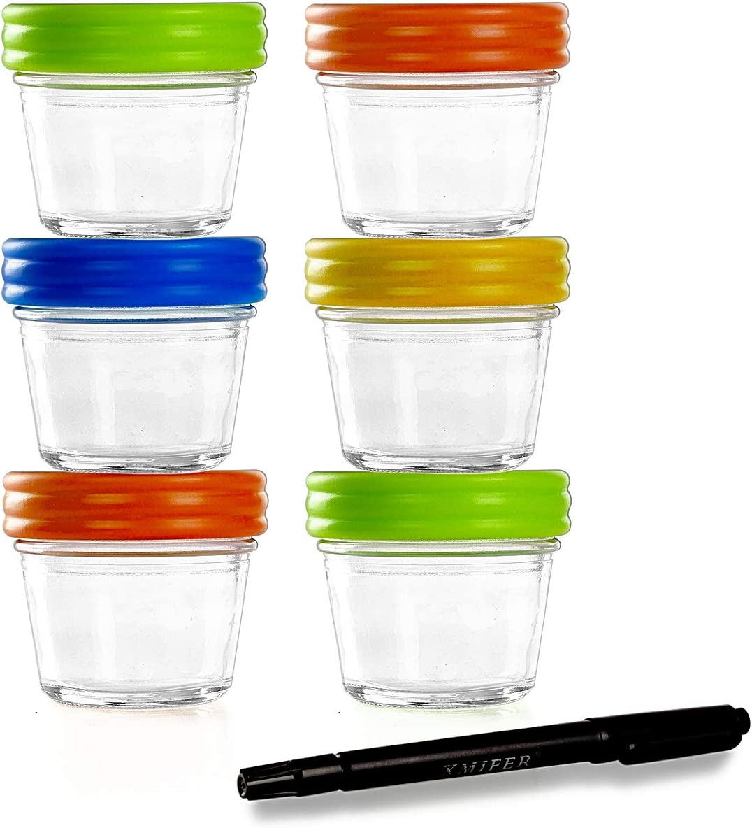 Glass Containers for Baby Food Storage Set Contains 6 Small Reusable 4oz Jars with Airtight Lids Safely Freeze your Homemade