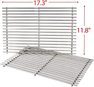 SHINESTAR 7639 Stainless Steel Grill Grates for Weber Spirit 300 Series Gas Grills, 17.3-inch Cooking Grates Replacement Parts 2 Pack