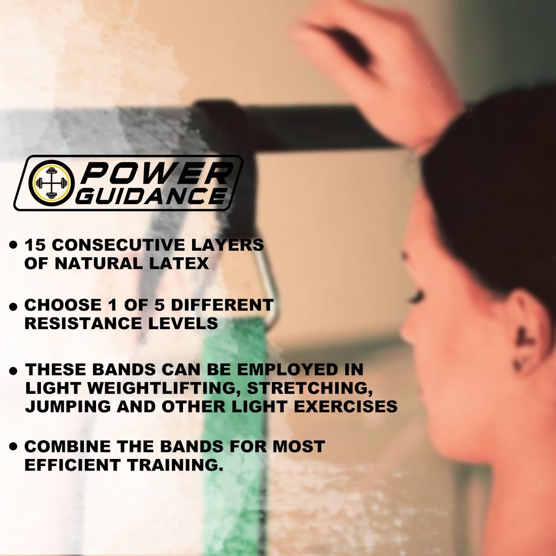 POWER GUIDANCE Pull Up Assist Bands - Stretch Resistance Band - Mobility Band - Powerlifting Bands - by Perfect for Body Stretching, Powerlifting, Resistance Training - Single Unit- Green by POWER GUIDANCE (Image #7)