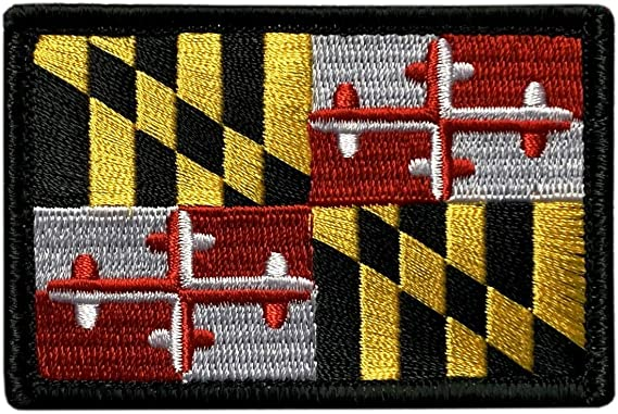 MARYLAND STATE FLAG PATCH EMBROIDERED SYMBOL APPLIQUE w// VELCRO® Brand Fastener