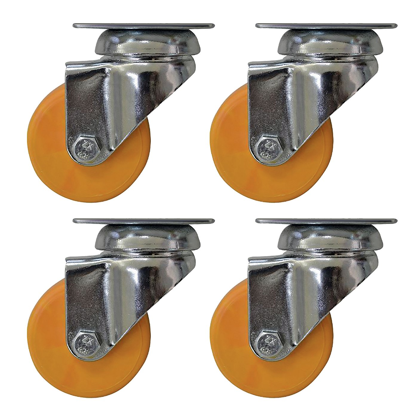Headbourne 8273E Designer Swivel Plate Casters with 88 Lb. Load Capacity 2 Honey Yellow 4 Pack