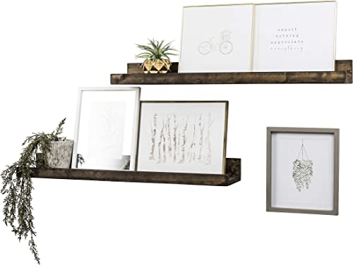 Del Hutson Designs Wall Mounted Shallow Floating Shelves Dark Walnut, 36 Inch