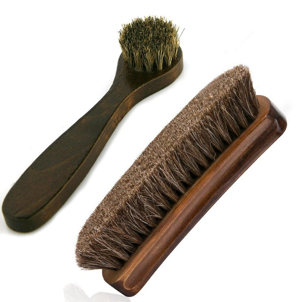 Horsehair Shoe Brushes MoYag 6.7'' Large Shoe Shine Brush Long Handle Dauber Brush for Leather Care