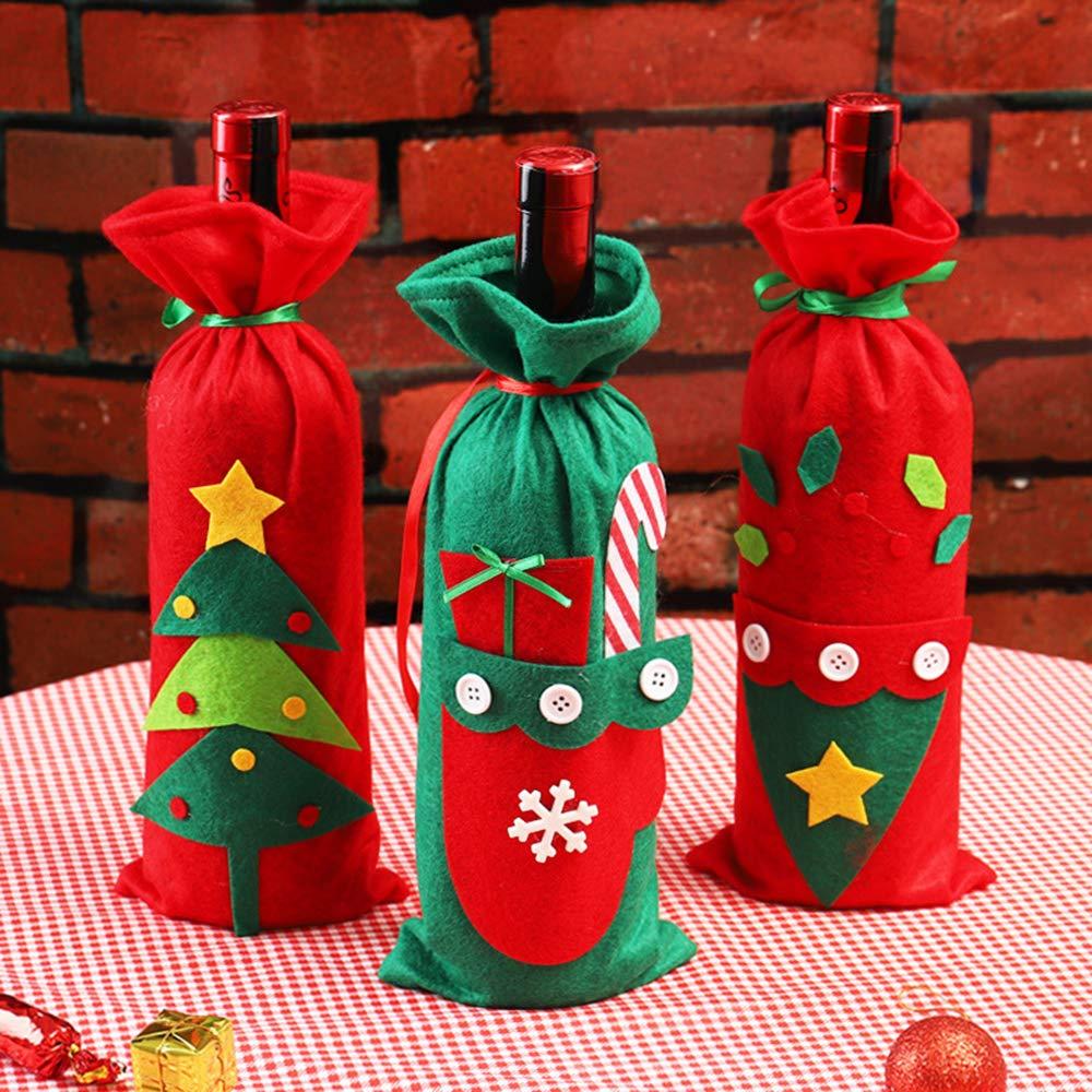 3 Piezas de Bolsa de Botella de Vino Roja Navidad Botella de Vino Bolsas Decoración Navidad Bolsa Size 15 * 30CM de Regalo de Navidad Del Partido: ...