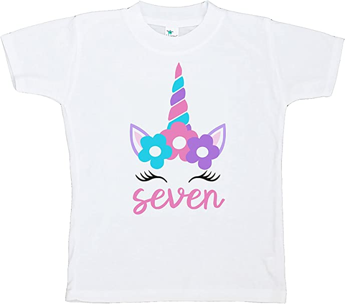 7 ate 9 Apparel Girls Valentines Day Unicorn T-Shirt