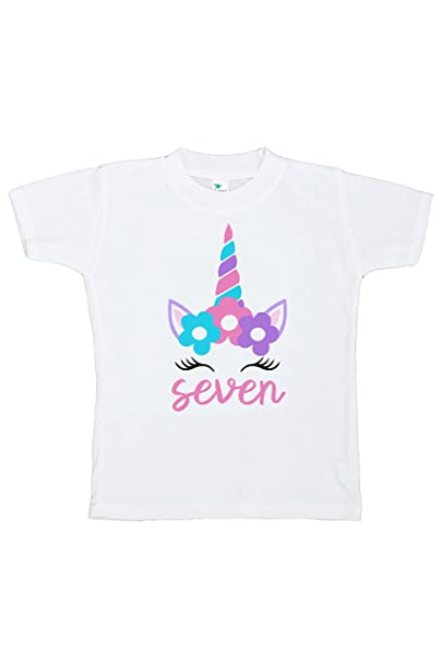 4879a18ce6cea 7 ate 9 Apparel Kids Seventh Birthday Unicorn T-Shirt Youth Small White