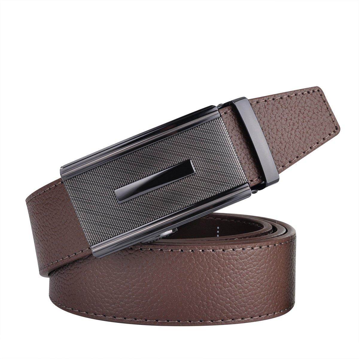 Men Designer Belt Sliding Buckle Ratchet Belt 35mm Wide 1 3/8'' Great Gift Idea by Jun Xiang (Image #3)