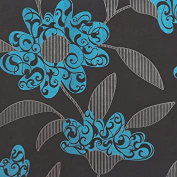 Vliestapete modern türkis  Tapete Rasch New Beats floral modern 718287 schwarz tuerkis silber ...