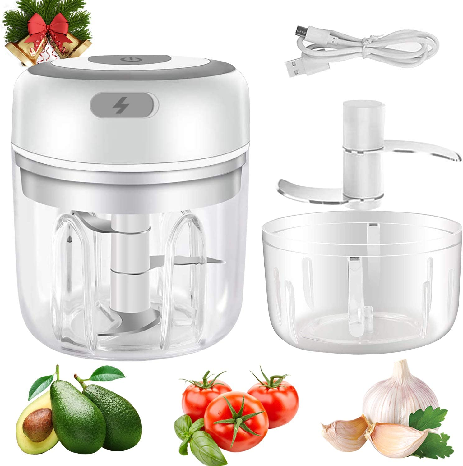 Electric Mini Garlic Chopper, 2 pack 250&100ml Food Chopper Electric, Onion Chopper Vegetable Processor/Slicer, USB Portable Mini Mincer Blender Mixer for Chili Pepper Vegetable Nuts, White