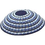 "Large Hand Knitted 7"" Cotton Kippah in Blue Shade Trims - Jewish Kippot Skull Caps"