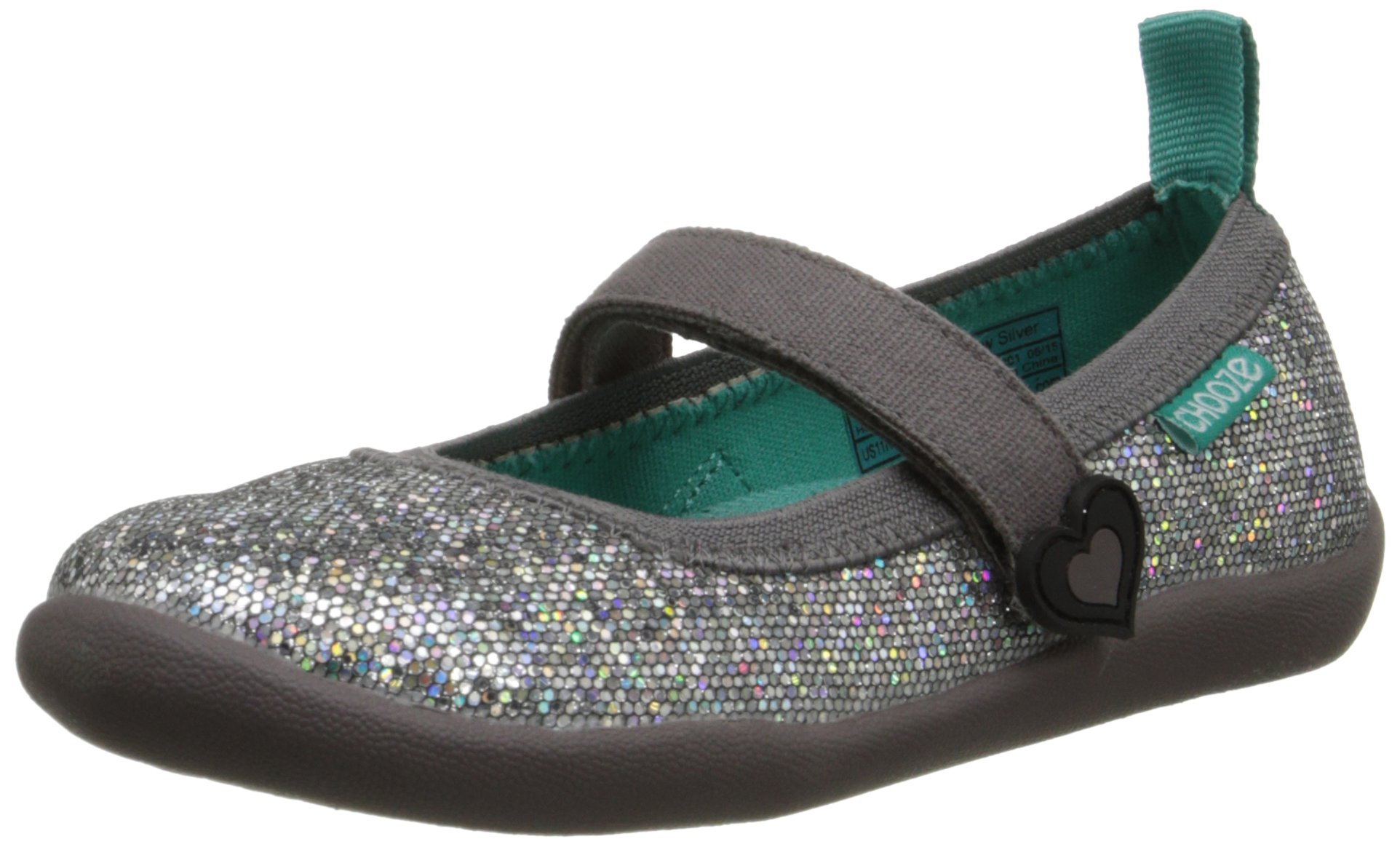 CHOOZE Jump Mary Jane (Toddler/Little Kid), Glow Silver, 9 M US Toddler