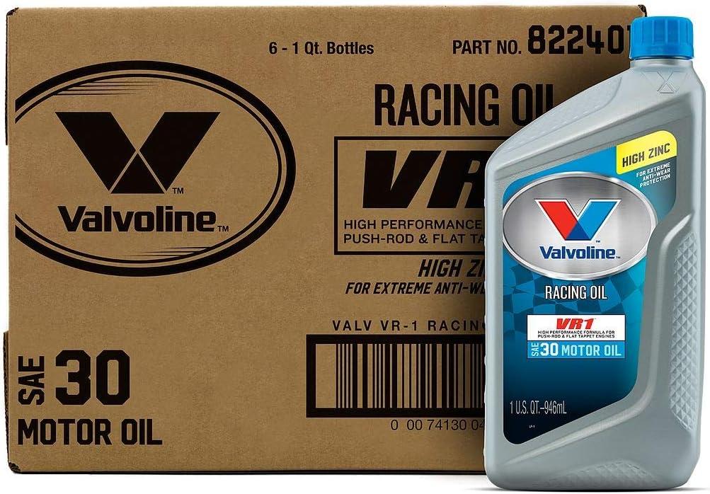 Valvoline 822401 VR1 Racing SAE 30 Motor Oil 1 QT, Case of 6