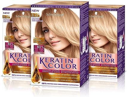 Keratin Color Cream Coloración del Cabello 8.34 Rubio Soleado - 3 Unidades
